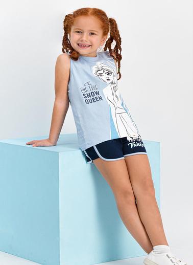 Frozen  Lisanslı Bebe Mavi Kız Çocuk Şort Takım Mavi